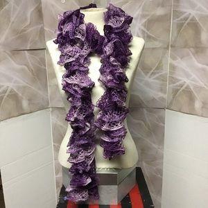 Purple Ruffled Knit Scarf